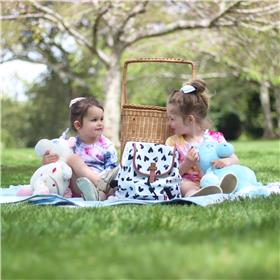 This is an image of a teddy bears picnic with personalised teddy''''s from My Teddy