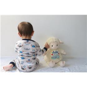This is am image of a personalised baby gift idea lamb from My teddy