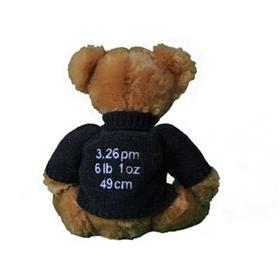 This is an image of a Personalised with birth date, time and weight from my teddy