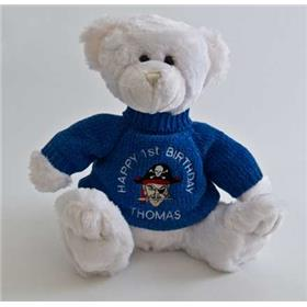 This is an image of a white personalised teddy bear baby gift idea from my Teddy