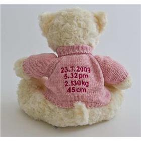 This is an image of a personalised teddy birth announcement from My Teddy