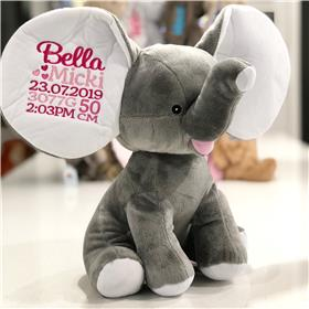 Grey Dumble Elephant custom embroidered with birth statistics for Bella in pinks.