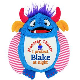 This is an image of a personalised monster cubbie toy from My Teddy