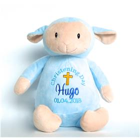 this is an image of a blue lamb christening gift idea from My teddy