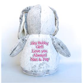 This is an image of a grey bunny cubbie personalised from My Teddy
