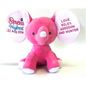 This is an image of a pink dumble two ears personalised from my teddy
