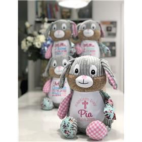Personalised teddy.  Pink patchwork bunnies for a Christening day gift.