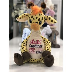 Personalised giraffe teddy with birth stats embroidered in pink and purples