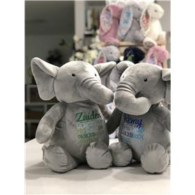 Elephants with personalised embroidery in blues and greens