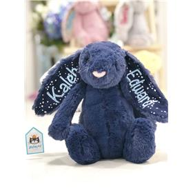 Jellycat bunny in Stardust with two ears embroidered in pastel blue