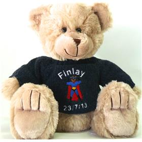 This is an image of a personalised teddy bear for a baby gift from My Teddy