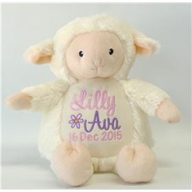 this is an image of personalised baby gift lamb critter from My Teddy