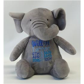 This is an image of a personalised grey elephant with birth announcement for a boy from My Teddy