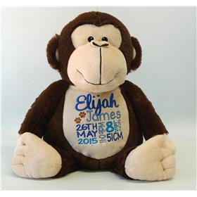 This is an image of a personalised unique baby gift monkey from My Teddy
