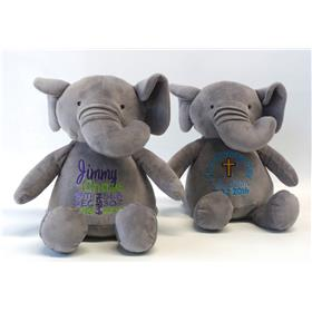 This is an image of two personalised teddy bear baby gifts from My Teddy