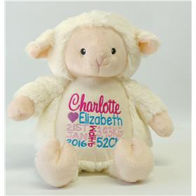 This is an image of a Personalised Teddy lamb birth gift ideas from my teddy