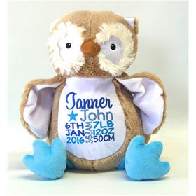 This is an image of personalised baby gifts owl critter from My Teddy