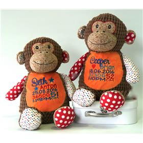 This is an image of a personalised patchwork monkey cubbie birth gift from My Teddy