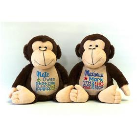 This is an image of two personalised newborn baby gifts from My Teddy