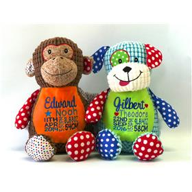 This is an image of a patchwork dog cubbie and a patchwork monkey cubbie from My Teddy