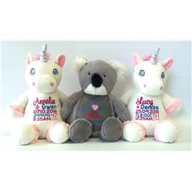 This is an image of a personalised unicorn and koala cubbie toy from My Teddy