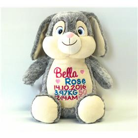 This is an image of a personalised teddy grey bunny best birth gift from My Teddy