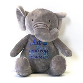 This is an image of a personalised newborn gift elephant from My Teddy