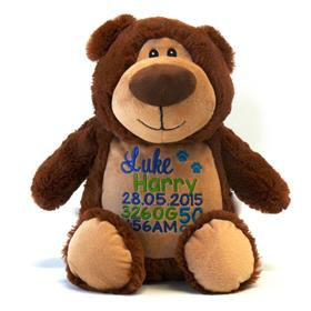 This is an image of a customised teddy toy brown best baby gift from My Teddy