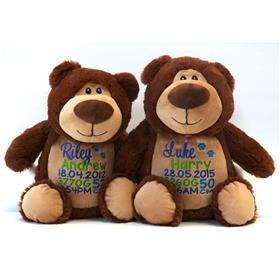 This is an image of two brown teddy bear cubbies with birth announcements from My Teddy