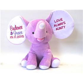 This is an image of a personalised baby gift purple dumble plush from My Teddy