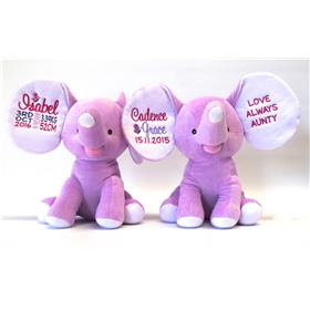 This is an image of a personalised newborn baby gifts elephant dumble from my teddy