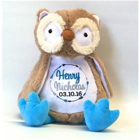 This is an image of a Owl critter personalised baby gift from My Teddy