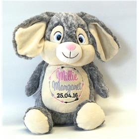 This is an image of a customised bunny birth gift idea from My Teddy