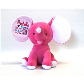 This is an image of a hot pink Elephant cubbie birth gift from My Teddy