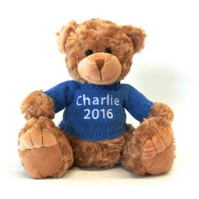 This is an image of a personalised teddy bear georgie brown blue jumper from My Teddy