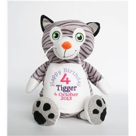 This is an image of a personalised cat 4th birthday gift from My teddy