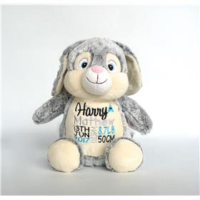 this is an image of personalised baby gift ideas grey bunny cubbie from My Teddy