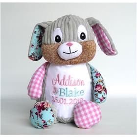 This is an image of personalised patchwork bunny for a baby gift from My teddy