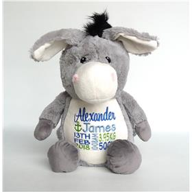 this is an image of personalised baby gifts grey donkey from My Teddy