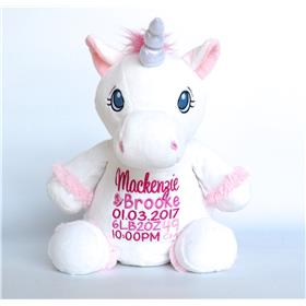 This is an image of a personalised teddy unicorn best birth gift from My Teddy
