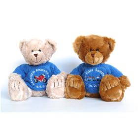 This is an image of two personalised Frankie Teddys birth announcements for boys from My Teddy