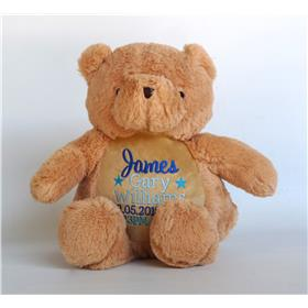 Teddy critter with Blue embroidery.  Personalised Teddy bear