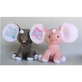 Dumble Elephants, grey and pink with personalised embroidery.  Personalised teddy Bears