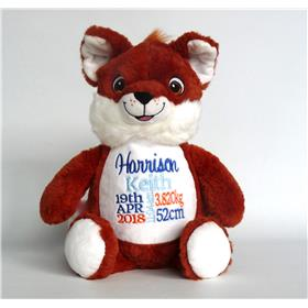 Personalised fox teddy for Harrison.  Royal blue light blue and orange