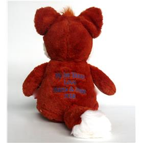 Personalised fox embroidered with a message on the back.