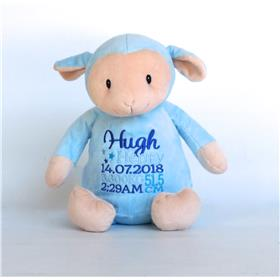 Personalised blue lamb teddy with embroidery in blues