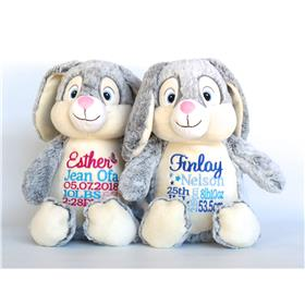 Personalised Grey Bunny teddy with birth announcement embroidery for girl and boy.