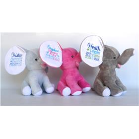 Personalised teddy bears.  Dumble elephants in a variety of colours