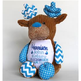Personalised Teddy bear, cupcake blue with embroidery in three blues