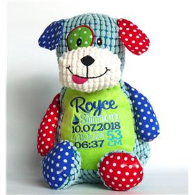 Personalised patchwork puppy embroidered in blues